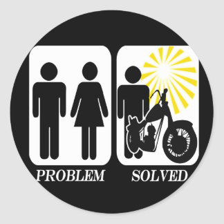 Motorbike Problem Solved Classic Round Sticker