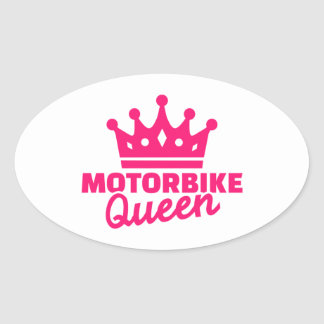 Motorbike queen oval sticker