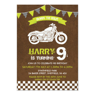 Motorbike themed birthday party invitation