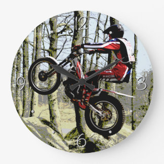 Motorbike trials rider large clock