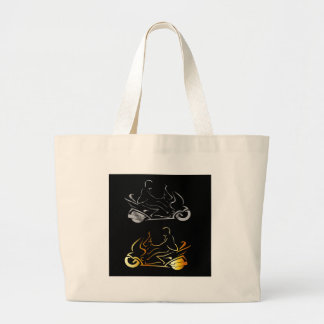 Motorbike with a person wearing helmet jumbo tote bag