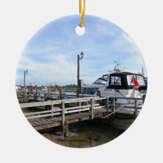 Motorboat On The River Blyth Ceramic Ornament