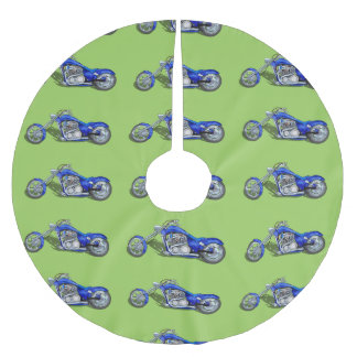 Motorcycle 1 - Blue Brushed Polyester Tree Skirt