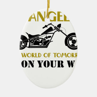 Motorcycle Angel Ceramic Oval Ornament