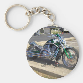 motorcycle basic round button keychain