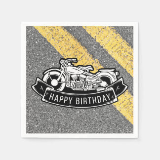 Motorcycle Biker Happy Birthday Party Serving Disposable Napkins