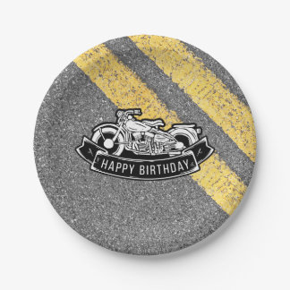 Motorcycle Biker Happy Birthday Party Serving Paper Plate