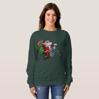 motorcycle biker santa claus womens sweatshirt