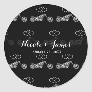 Motorcycle Black & Silver Hearts Biker Wedding Classic Round Sticker