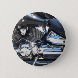 Motorcycle chromed engine closeup detail Side view 2 Inch Round Button