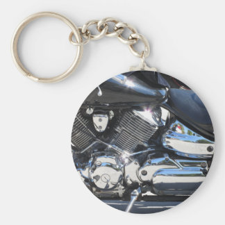 Motorcycle chromed engine closeup detail Side view Basic Round Button Keychain