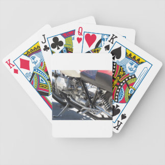 Motorcycle chromed engine closeup detail Side view Bicycle Playing Cards