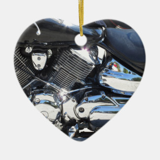 Motorcycle chromed engine closeup detail Side view Ceramic Heart Ornament