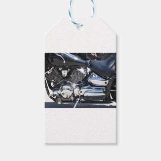 Motorcycle chromed engine closeup detail Side view Gift Tags