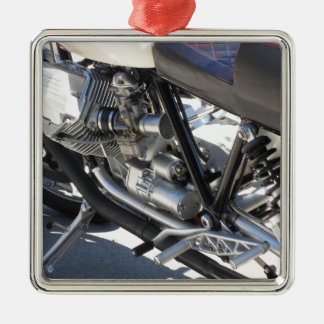 Motorcycle chromed engine closeup detail Side view Metal Ornament