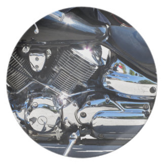 Motorcycle chromed engine closeup detail Side view Plate