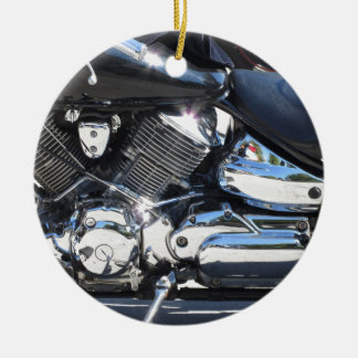 Motorcycle chromed engine closeup detail Side view Round Ceramic Ornament