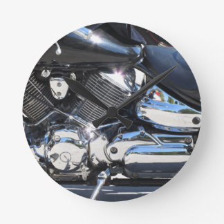 Motorcycle chromed engine closeup detail Side view Round Clock