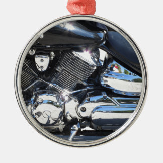 Motorcycle chromed engine closeup detail Side view Silver-Colored Round Ornament