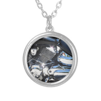 Motorcycle chromed engine closeup detail Side view Silver Plated Necklace