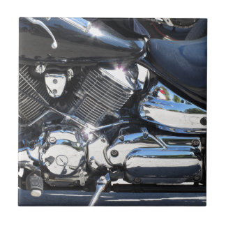 Motorcycle chromed engine closeup detail Side view Tile