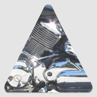 Motorcycle chromed engine closeup detail Side view Triangle Sticker