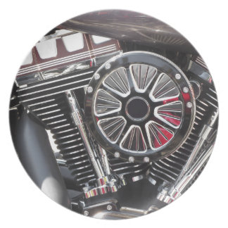 Motorcycle chromed engine detail background party plates