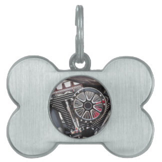 Motorcycle chromed engine detail background pet tag