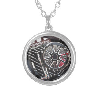 Motorcycle chromed engine detail background silver plated necklace