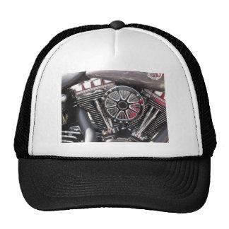 Motorcycle chromed engine detail background trucker hat