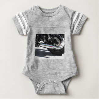 Motorcycle chromed exhaust pipe . Side view Baby Bodysuit