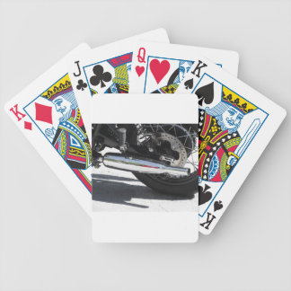 Motorcycle chromed exhaust pipe . Side view Bicycle Playing Cards