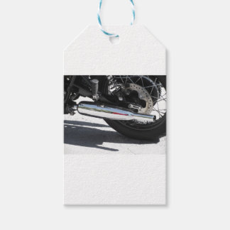 Motorcycle chromed exhaust pipe . Side view Gift Tags