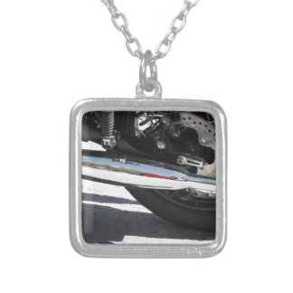 Motorcycle chromed exhaust pipe . Side view Silver Plated Necklace