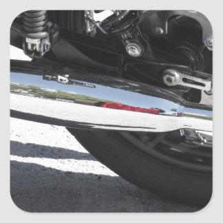 Motorcycle chromed exhaust pipe . Side view Square Sticker