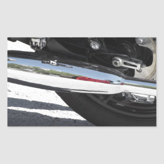 Motorcycle chromed exhaust pipe . Side view Sticker