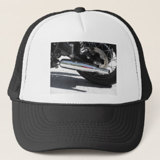 Motorcycle chromed exhaust pipe . Side view Trucker Hat