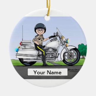 Motorcycle Cop - Female Ceramic Ornament