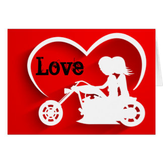 Motorcycle Couple LOVE Happy Valentine's Day Card