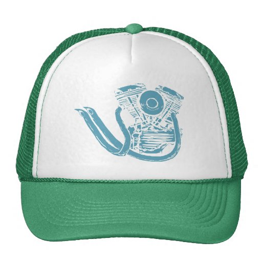 Motorcycle Engine Drawing Trucker Hat