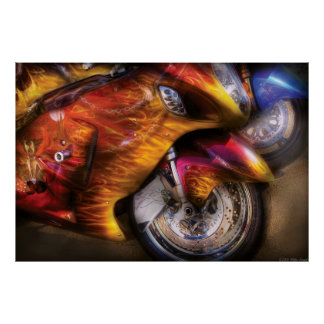 Motorcycle - Flame On Poster