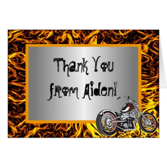 Motorcycle Flames Thank You Note Card