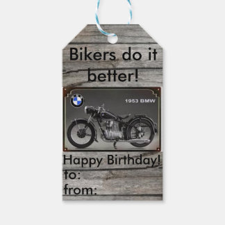 Motorcycle Happy Birthday gift tag Pack Of Gift Tags