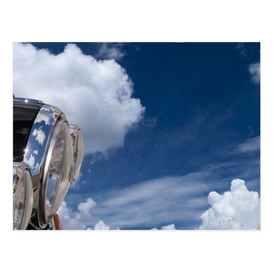 motorcycle headlights sky background postcard