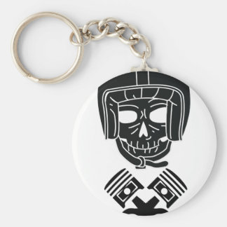 Motorcycle Helmet Skull Basic Round Button Keychain