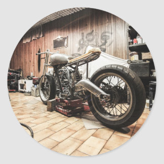 Motorcycle in the lonely garage classic round sticker