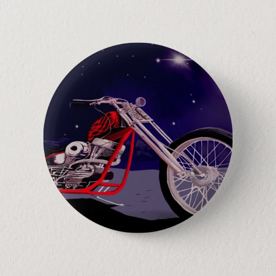 Motorcycle Moonlight Art 2 Inch Round Button