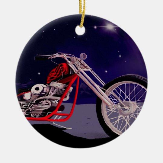 Motorcycle Moonlight Art Ceramic Ornament