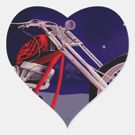 Motorcycle Moonlight Art Heart Sticker