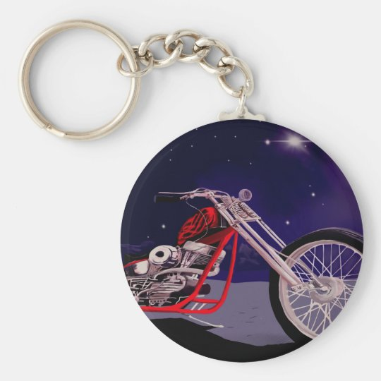 Motorcycle Moonlight Art Keychain